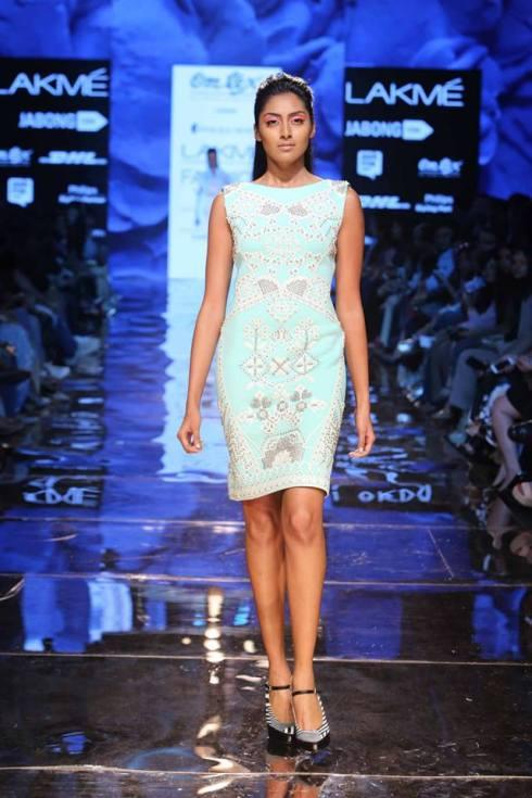 Honeymoon outfit | Pale blue white and silver dress by Pankaj & Nidhi | Lakme Fashion Week Summer Resort 2015 | thedelhibride Indian weddings blog