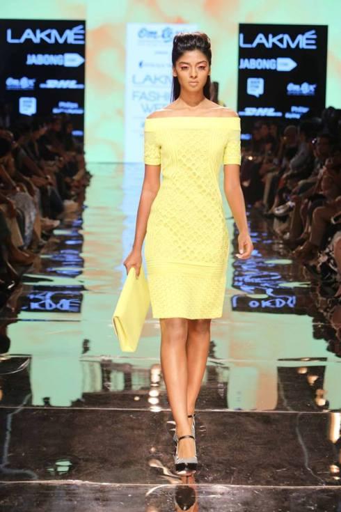 Honeymoon outfit | Yellow dress by Pankaj & Nidhi | Lakme Fashion Week Summer Resort 2015 | thedelhibride Indian weddings blog