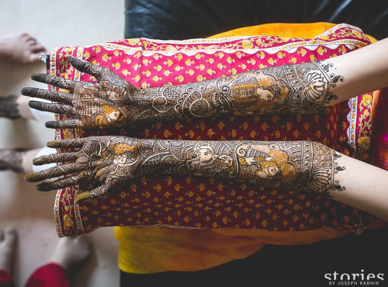 Intricate mehendi design on bride elephant mughal prince and princess varmala Shonan & Adesh | thedelhibride Indian wedding blog