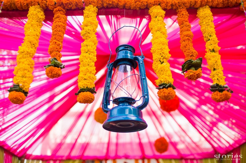 laterns and marigolds colourful fun mehendi decor Shonan & Adesh