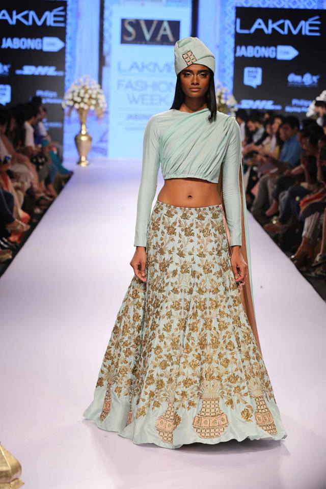 Lehenga SVA Sonam & Paras Modi | pale blue lehenga | Lakme Fashion Week Summer Resort 2015 | thedelhibride Indian weddings blog