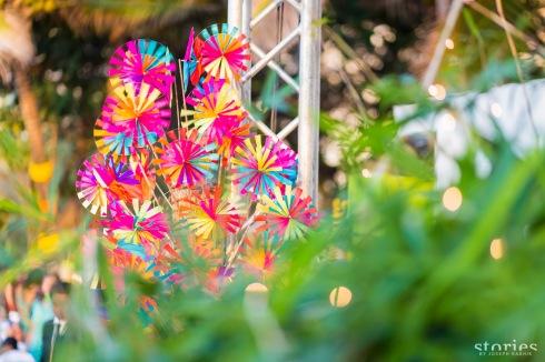 Mela theme mehendi decor with pinwheels Shonan & Adesh