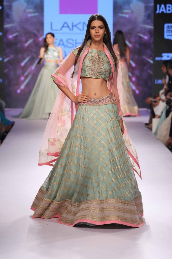 Pale blue gold and pink lehenga Anushree Reddy at Lakme Fashion Week Summer Resort 2015
