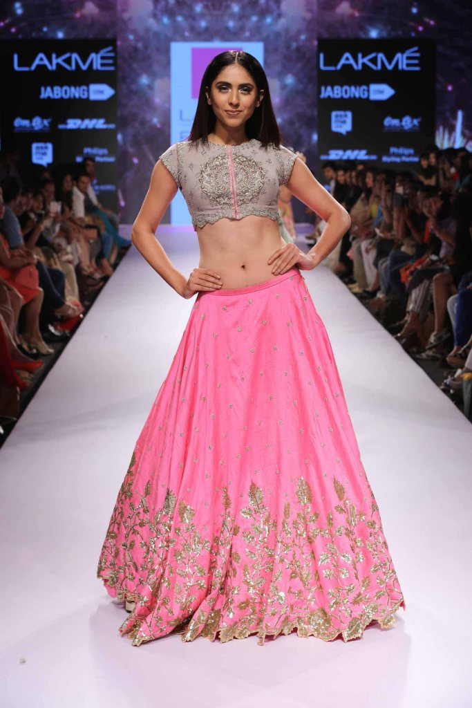 Pink & grey silver lehenga Anushree Reddy at Lakme Fashion Week Summer Resort 2015