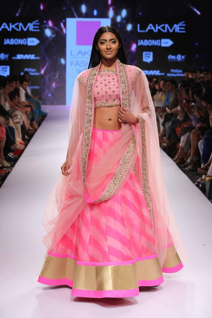 Pink striped lehenga Anushree Reddy at Lakme Fashion Week Summer Resort 2015
