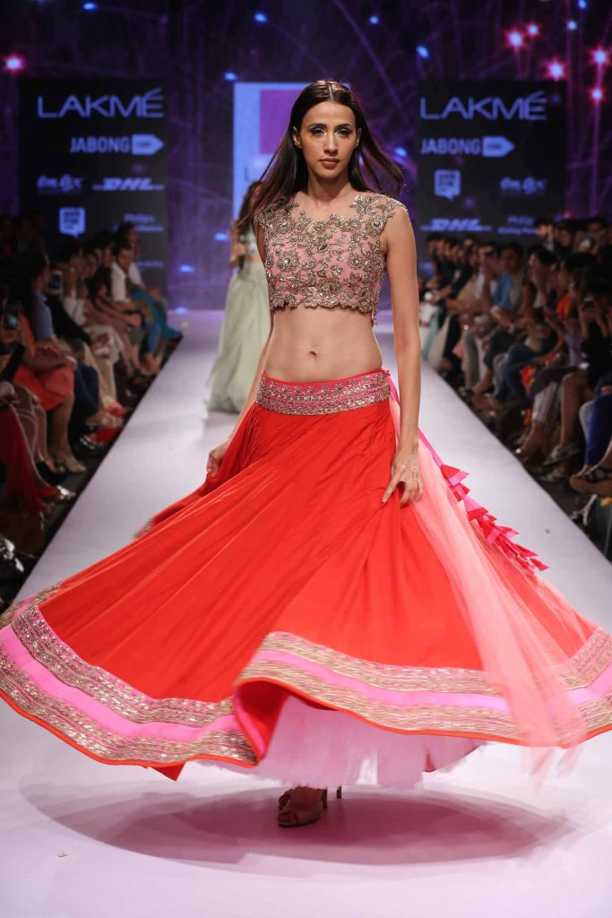 Read & pink lehenga Anushree Reddy at Lakme Fashion Week Summer Resort 2015