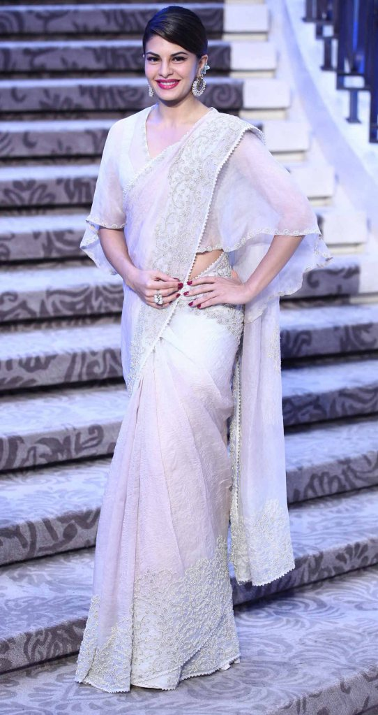 Sari by Anamika Khanna | Ivory embroidered classic sari with cape blouse | Lakme Fashion Week Summer Resort 2015 | thedelhibride Indian weddings blog