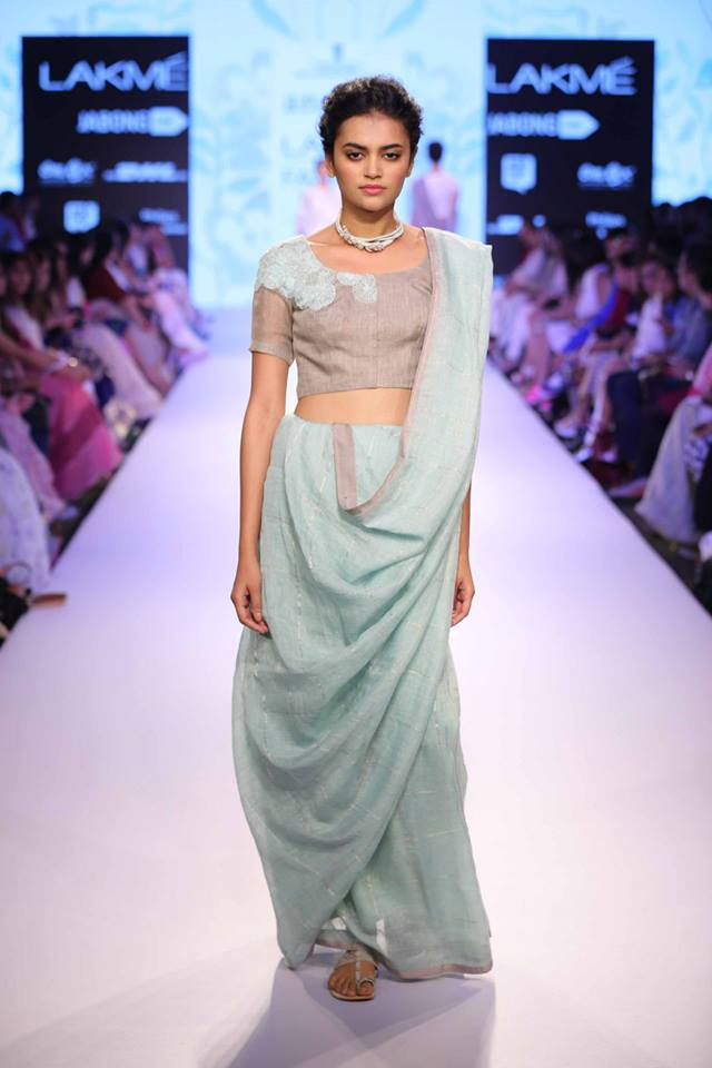 Sari by Anavila | pale blue and silver sari Wedding Guest Style | Lakme Fashion Week Summer Resort 2015 | thedelhibride Indian weddings blog