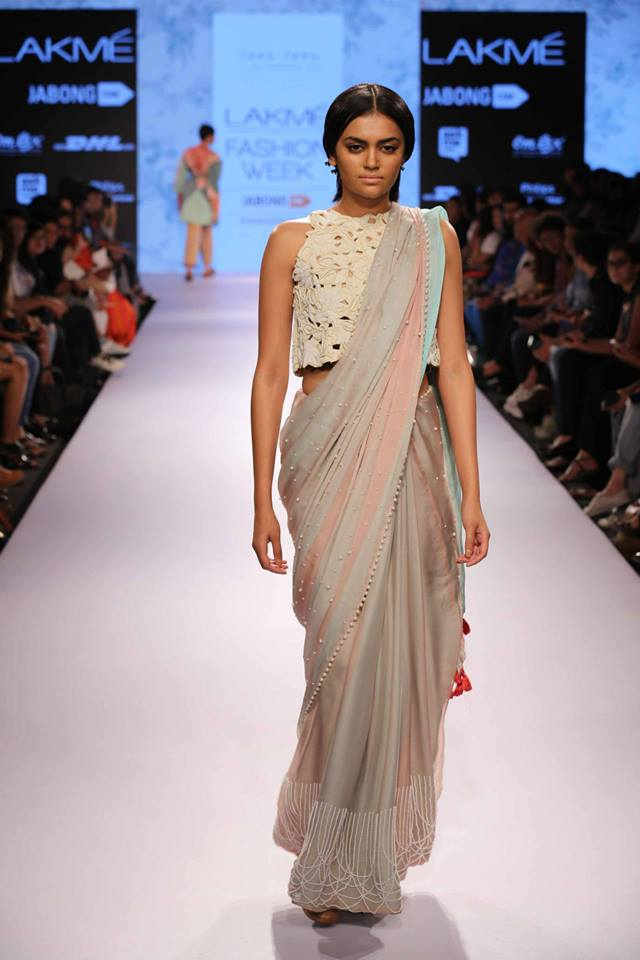 Sari by Frou Frou | pastel sari | Lakme Fashion Week Summer Resort 2015 | thedelhibride Indian weddings blog