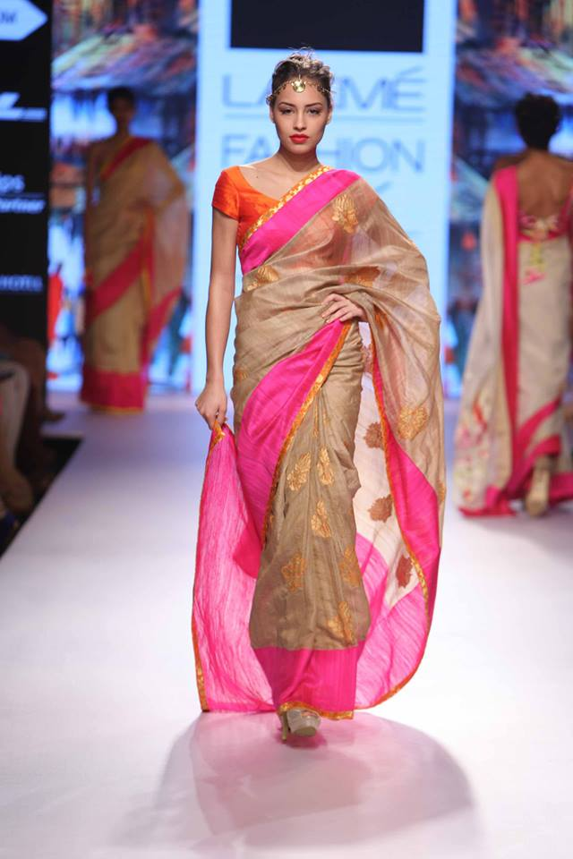 Sari by Mandira Bedi | gold orange and pink | Lakme Fashion Week Summer Resort 2015 | thedelhibride Indian weddings blog