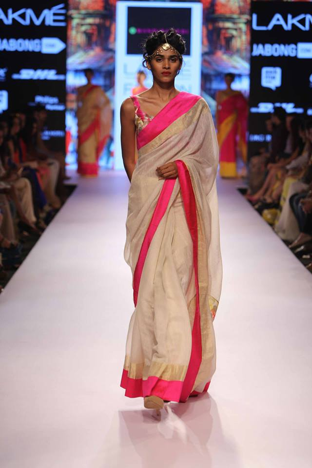 Sari by Mandira Bedi | ivory pink and gold | Lakme Fashion Week Summer Resort 2015 | thedelhibride Indian weddings blog