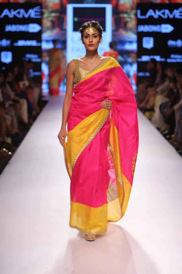 Sari by Mandira Bedi | pink and yellow sari | Lakme Fashion Week Summer Resort 2015 | thedelhibride Indian weddings blog