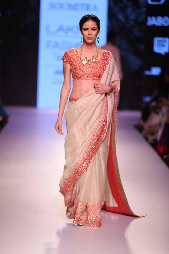 Sari Marg by Soumitra | ivory peach pink sari | Lakme Fashion Week Summer Resort 2015 | thedelhibride Indian weddings blog