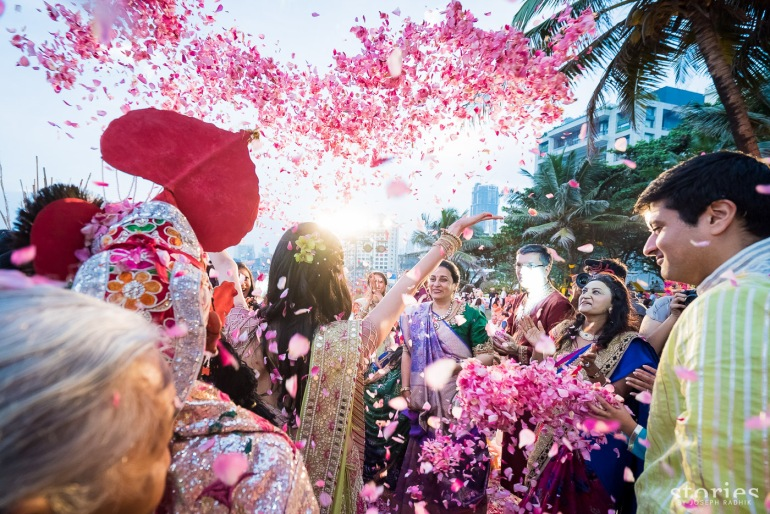 Shonan & Adesh Brij Holi shower of petals forming a heart shape