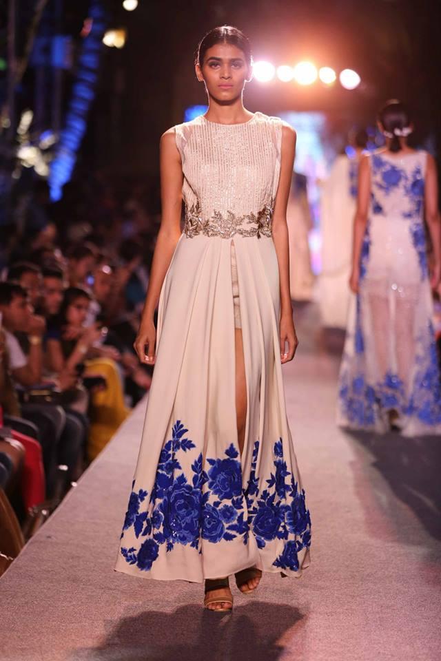 Suit Manish Malhotra | slit ivory anarkli floral embroidery | Lakme Fashion Week Summer Resort 2015 | thedelhibride Indian weddings blog