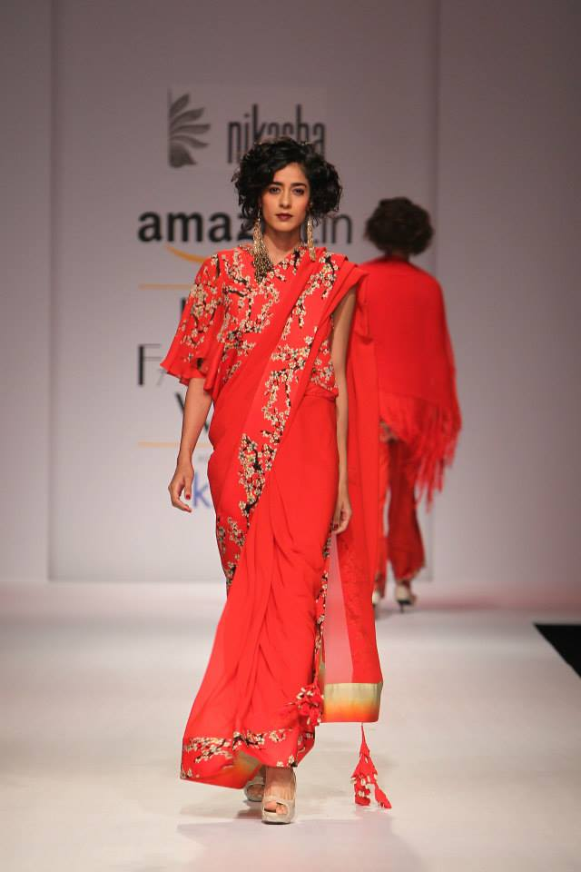 TDB Picks Nikasha red sari with cherry tree floral print border | Best of Amazon India Fashion Week Autumn Winter 2015 | thedelhibride Indian weddings blog