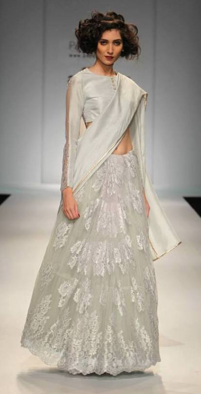 TDB Picks Payal Singhal Chantilly lace sari in pastel hue 2 | Best of Amazon India Fashion Week Autumn Winter 2015 | thedelhibride Indian weddings blog