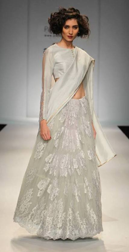 TDB Picks Payal Singhal Chantilly lace sari in pastel hue 2 | Best of Amazon India Fashion Week Autumn Winter 2015 | thedelhibride Indian weddings blog