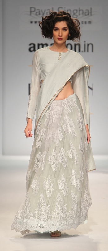 TDB Picks Payal Singhal Chantilly lace sari pastel hue 1 | Best of Amazon India Fashion Week Autumn Winter 2015 | thedelhibride Indian weddings blog