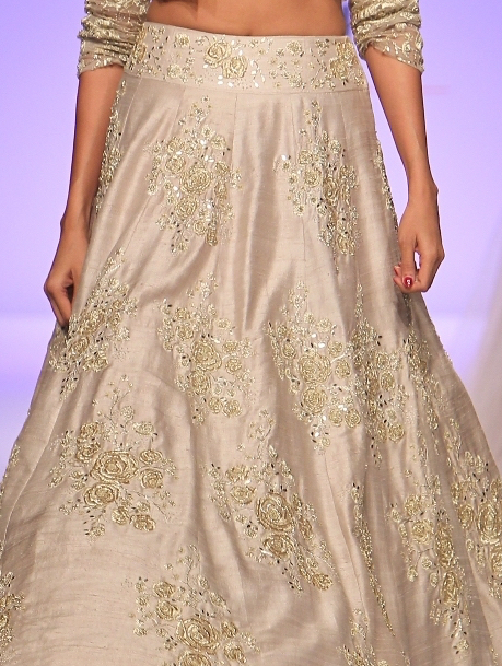 TDB Picks Payal Singhal silk embroidered lehenga in stone grey - embroidery details | Best of Amazon India Fashion Week Autumn Winter 2015 | thedelhibride Indian weddings blog