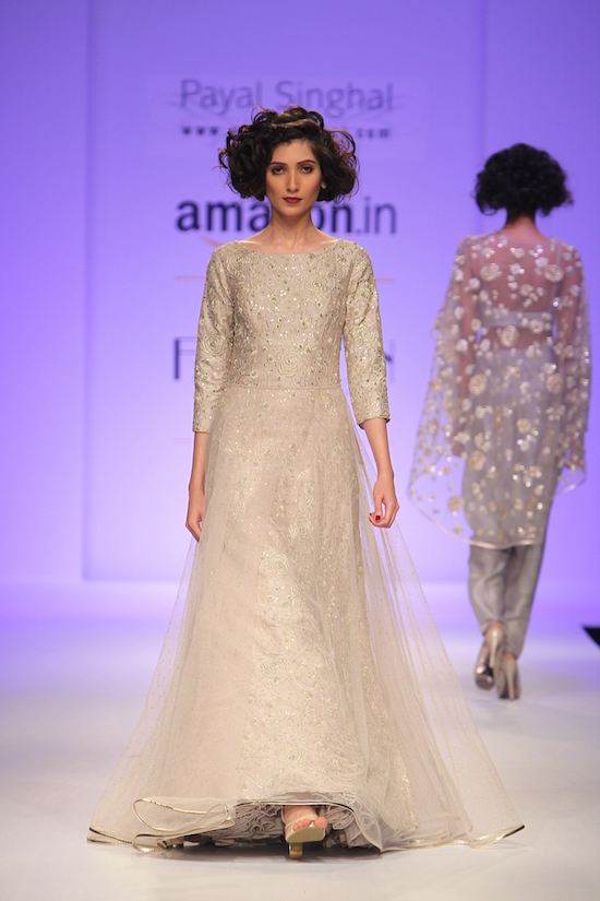 TDB Picks stone grey silk and tulle embroidered gown | Best of Amazon India Fashion Week Autumn Winter 2015 | thedelhibride Indian weddings blog