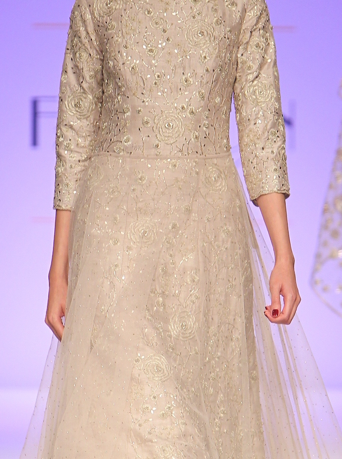 TDB Picks stone grey silk and tulle embroidered gown - embroidery details | Best of Amazon India Fashion Week Autumn Winter 2015 | thedelhibride Indian weddings blog