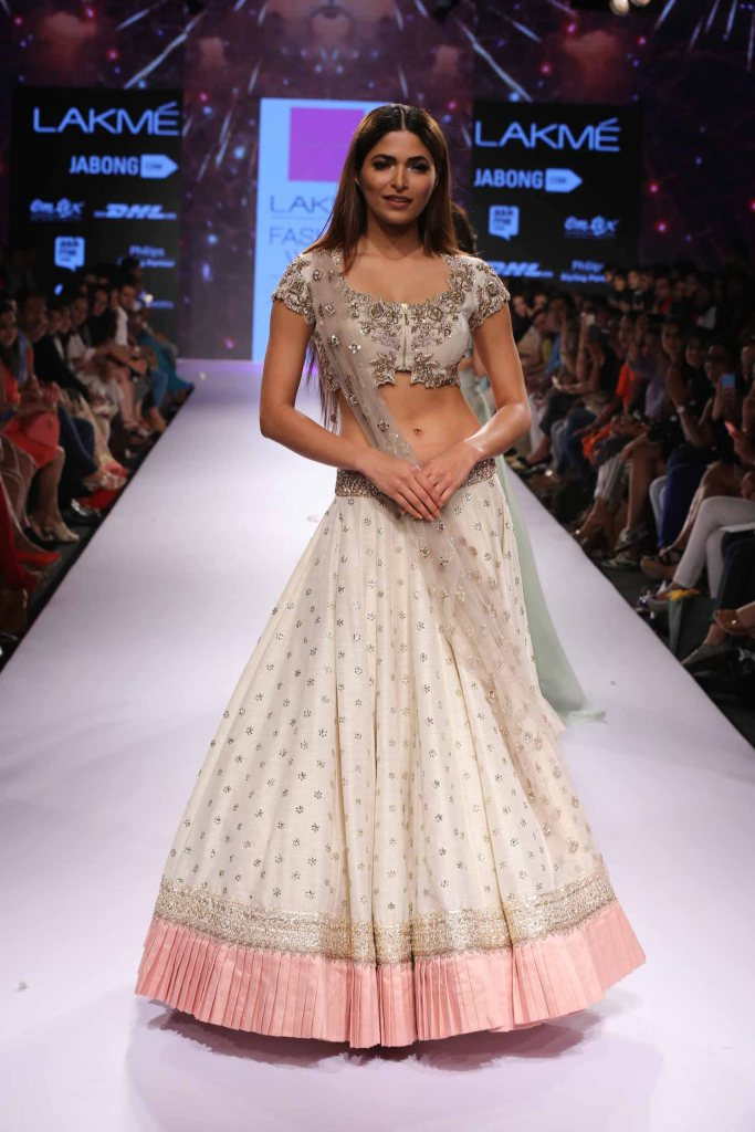 TDB Picks White and blush pink lehenga Anushree Reddy at Lakme Fashion Week Summer Resort 2015