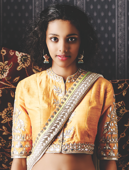 Yellow jacket style blouse with long sleeves and gota patti | The Vanalika lehenga, harini earring by Anita Dongre | Summer Bride 2015 new collection | thedelhibride Indian weddings blog