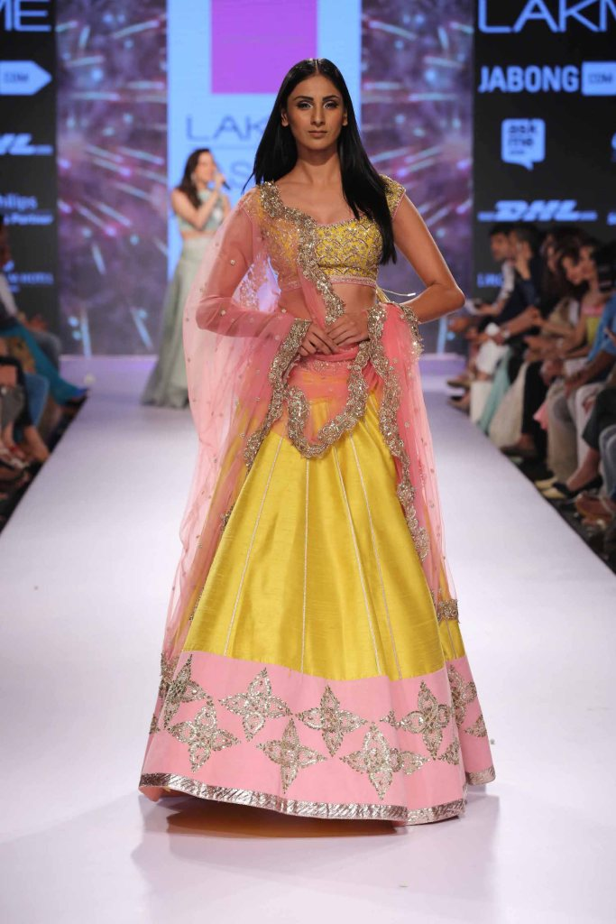 Yellow & soft pink lehenga Anushree Reddy at Lakme Fashion Week Summer Resort 2015