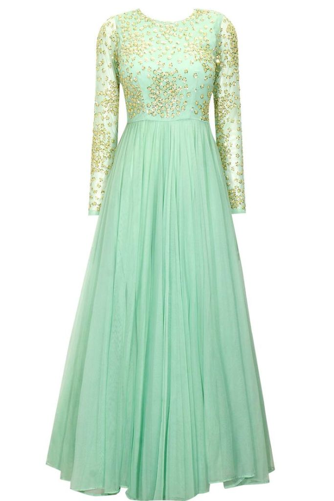 34000 Astha Narang mint green sequin yoke Sabyasachi style anarkali gown for Reception