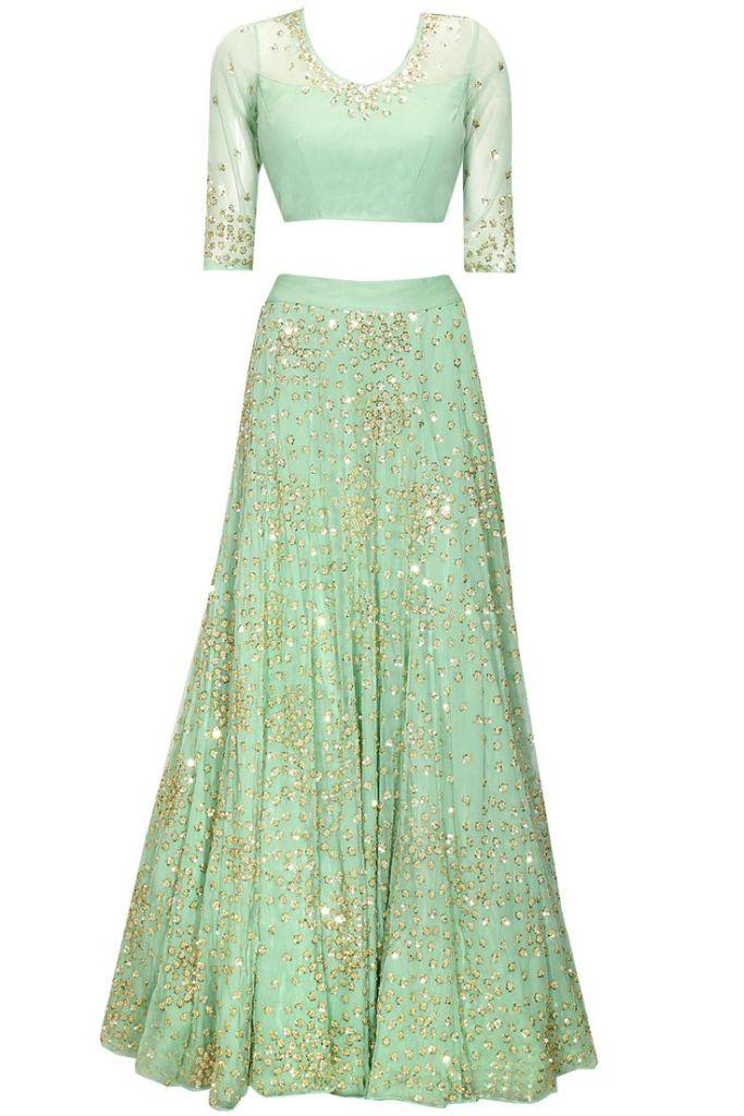 45000 Astha Narang mint green lehenga Sabyasachi style for Reception