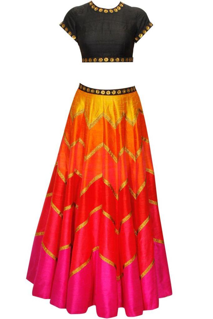 45990 Priyal Prakash multi-coloured lehenga for Reception