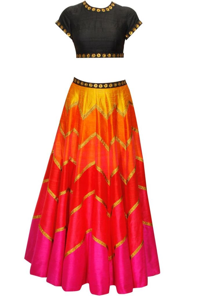 45990 Priyal Prakash multi-coloured lehenga for Reception