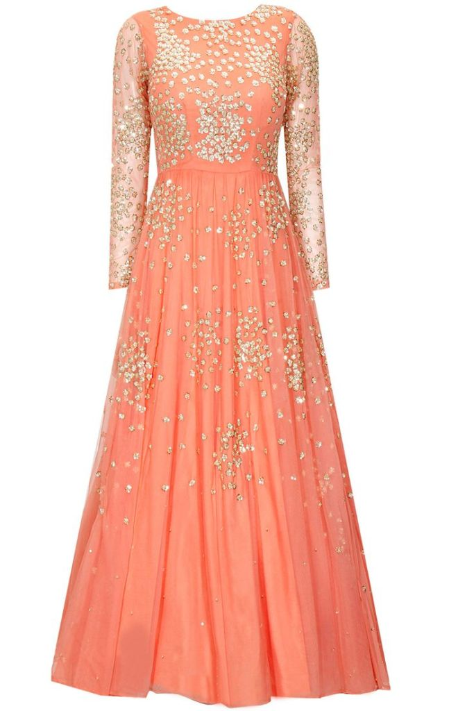 New 32000 Astha Narang coral peach shimmer anarkali gown for Reception