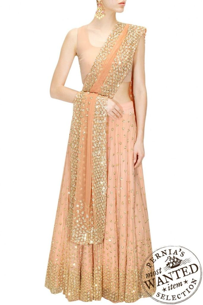 New 39000 Astha Narang peach shimmer lehenga for Reception