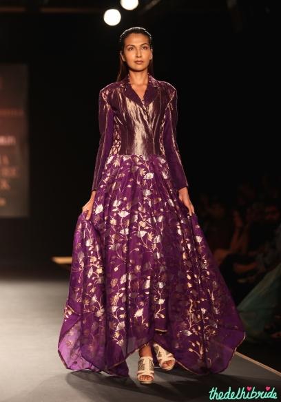 Hand Woven Silk Chanderi Lotus Jaal Floral Asymmetric Long Dress 1 - Rahul Mishra - Amazon India Couture Week 2015