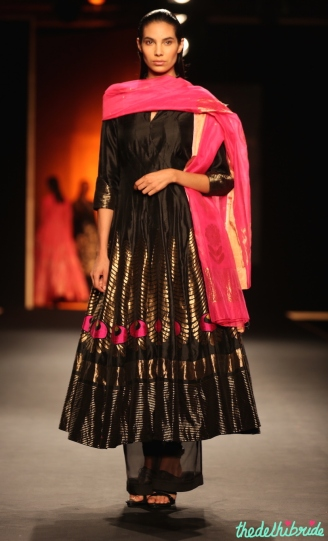 Hand Woven Silk Chanderi 'Mor Pankh' Long Kurta Set - Rahul Mishra - Amazon India Couture Week 2015