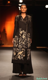 Hand Embroidered Silk Long Jacket with Silk Chiffon Pants - Rahul Mishra - Amazon India Couture Week 2015
