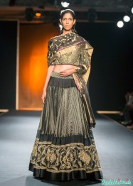 Hand Woven Hand Embroidered Silk Chanderi Lehenga with Jersey Crop Top - Rahul Mishra - Amazon India Couture Week 2015