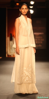 Hand Embroidered Sheer Short Top with Hand Embroidered Parrot Kurta _ Silk Chiffon Palazzo Pants 1 - Rahul Mishra - Amazon India Couture Week 2015