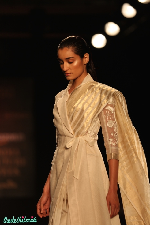 20.Hand Embroidered Silk Sheer Silk Trench Jacket with Hand Embroidered Saree 1 - Rahul Mishra - Amazon India Couture Week 2015