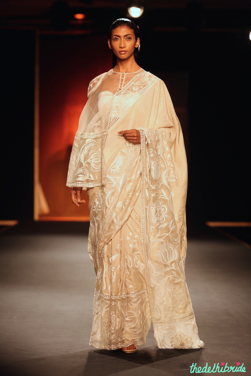 1a661748c03 Hand Embroidered Silk Sheer Cape with Hand Embroidered Saree – Rahul Mishra  – Amazon India Couture Week 2015.JPG