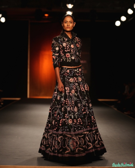 Hand Embroidered Chintz Bomber Jacket with Chintz Lehenga - Rahul Mishra - Amazon India Couture Week 2015