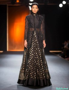 Hand Embroidered Jacket with Silk Chiffon Hand Embroidered Skirt - Rahul Mishra - Amazon India Couture Week 2015
