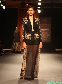 Hand Woven Maheshwari Silk Chanderi Long Kurta with Hand Woven Silk Lehenga - Rahul Mishra - Amazon India Couture Week 2015