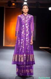 Hand Woven Silk Chanderi Lotus Jaal Straight Kurta with Handwoven Pleated Long Skirt - Rahul Mishra - Amazon India Couture Week 2015