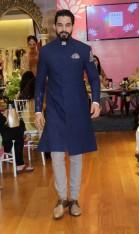 Anju Modi new collection sneak peek at Vogue Bridal Studio for Vogue Wedding Show 2015 blue jacket for men
