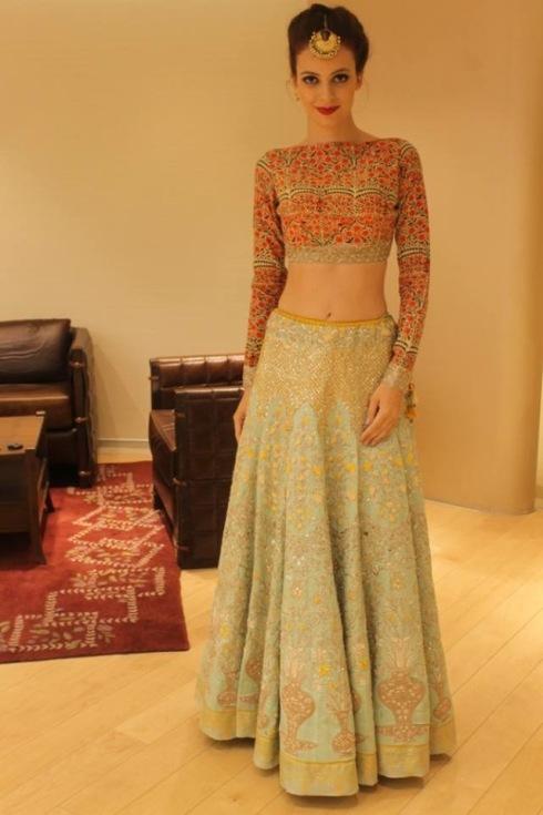 Anju Modi new collection sneak peek at Vogue Bridal Studio for Vogue Wedding Show 2015 blue lehenga from Pinterest