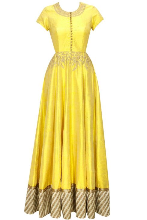 Anoli Shah - Yellow Anarkali Gown - Mehendi Outfits - Buy online under 25K
