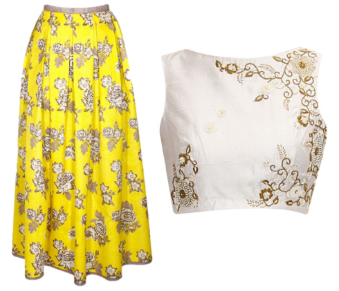 Mehendi outfits under 25k floral print yellow maxi skirt Sonal Kalra Ahuja ivory embroidered crop top Tisha Saksena what to wear on mehendi